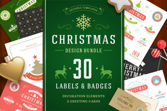 Christmas 30 Labels and Badges Graphic Logos By vasyako1984