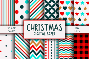Print on Demand: Christmas Pattern Digital Paper Gráfico Moldes Por atlasart