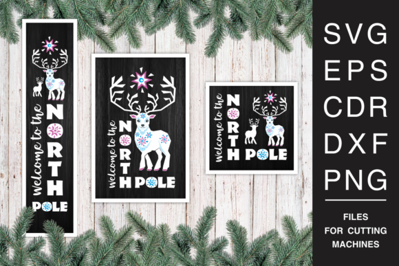 Christmas Porch Signs Set with Reindeer Graphic