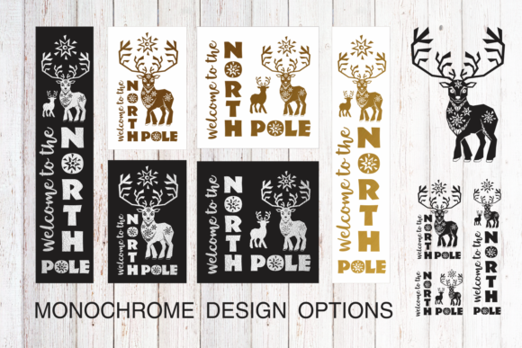 Christmas Porch Signs Set with Reindeer Graphic Item