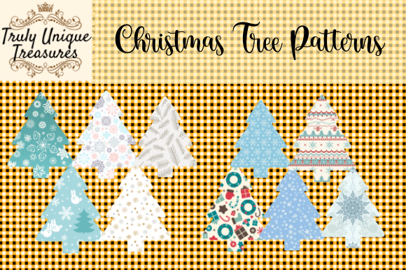 Christmas Trees - Patterned Graphic Illustrations By Truly Unique Treasures