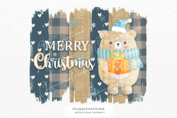 Christmas Bear Design, Blue Plaid Graphic Crafts By Chonnieartwork