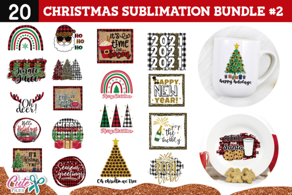 Christmas Sublimation Design Bundle 2 Graphic Print Templates By Cute files