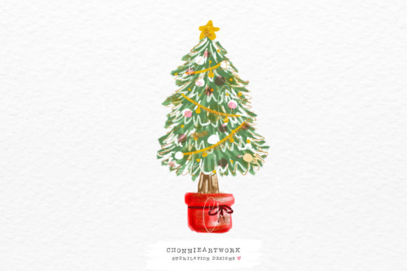 Christmas Tree Sublimation Graphic Crafts By Chonnieartwork