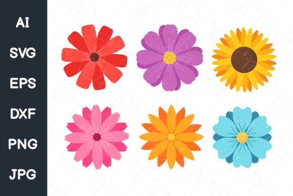 Colorful Flower Set for Women. Svg File. Graphic Illustrations By CRStocker