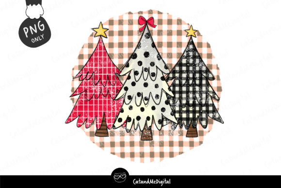 Cute Christmas Tree Sublimation Graphic Illustrations By CatAndMe