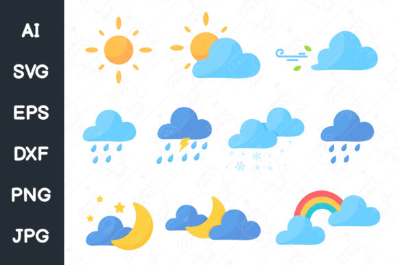 Cute Weather Icon Set. Svg File. Graphic Illustrations By CRStocker