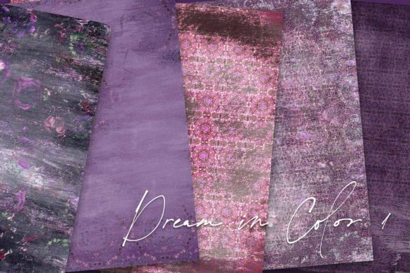 Print on Demand: Dream in Color Purple Backgrounds Graphic Backgrounds By LilBitDistressed