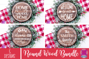 Farmhouse Welcome Round Wood Sign SVG, C Graphic Crafts By Rumi Designed