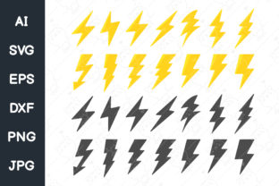 Print on Demand: Flat Lightning Icon Set. Svg File. Graphic Illustrations By CRStocker