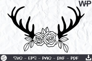 Floral Deer Antlers SVG Graphic Print Templates By wanchana365