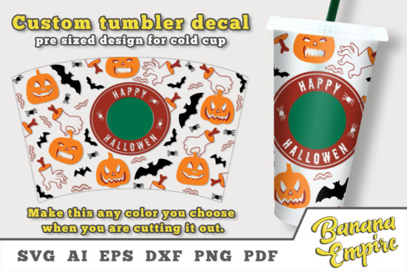 Print on Demand: Halloween Decal Set to Personalize Cup Graphic Crafts By Banana Empire