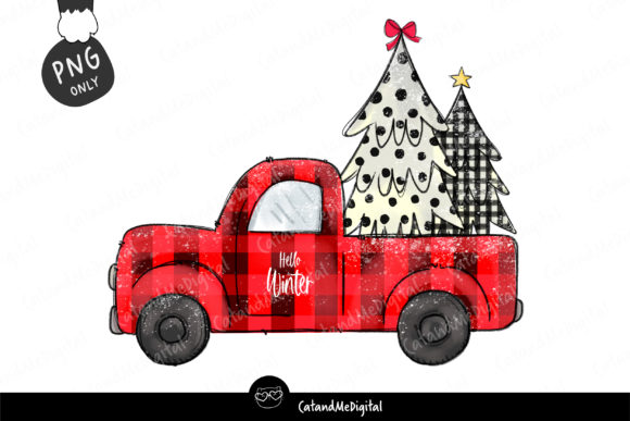 Red Christmas Truck Sublimation  Graphic Illustrations By CatAndMe