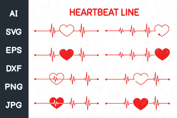 Red Heart Rate Graph. Svg File. Graphic Illustrations By CRStocker
