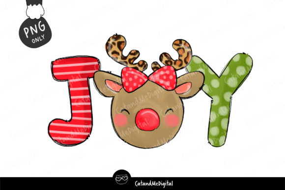 Reindeer Christmas Joy  Graphic Illustrations By CatAndMe