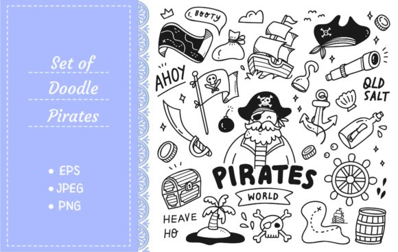 Set of Cute Pirates Doodle Graphic Illustrations By Big Barn Doodles