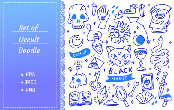 Set of Occult Doodles, Mystical Object Graphic