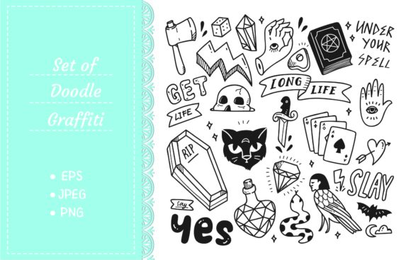 Set of Cute Graffiti Doodle Graphic Illustrations By Big Barn Doodles