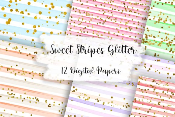 Sweet Stripes Glitter Background Graphic Backgrounds By PinkPearly