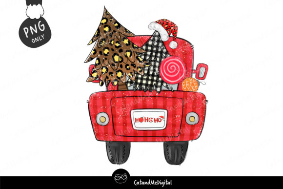 Truck Buffalo Plaid Christmas Tree Graphic Illustrations By CatAndMe