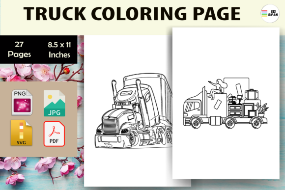 Print on Demand: Truck Coloring Page for Kids-KDP Graphic Coloring Pages & Books Kids By Sei Ripan