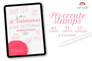 Valentine's Day Procreate Stamps. Love Graphic Brushes By LetsArtShop