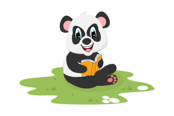 Print on Demand: Cute Panda Reading a Book Graphic Illustrations By curutdesign