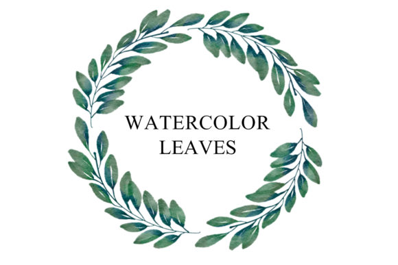 Print on Demand: Leaf Wreath Watercolor PNG Graphic Illustrations By goodigital
