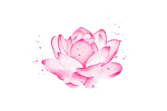 Print on Demand: Lotus Flower Watercolor Realistic PNG Graphic Illustrations By goodigital