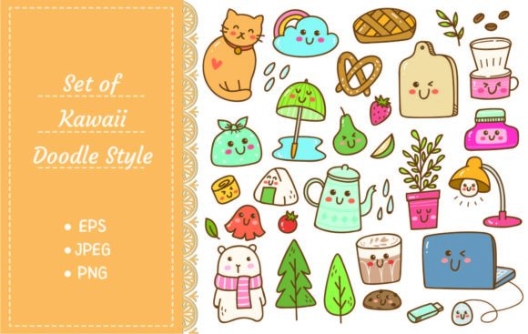 Set of Kawaii Doodles, Cute Stickers Graphic Illustrations By Big Barn Doodles