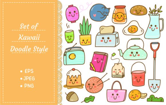 Set of Kawaii Doodles, Cute Stickers Graphic