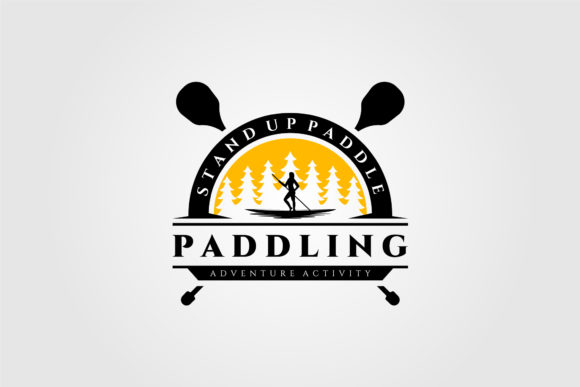 Stand Up Paddle Vintage Logo Vector Silh Graphic Logos By lawoel