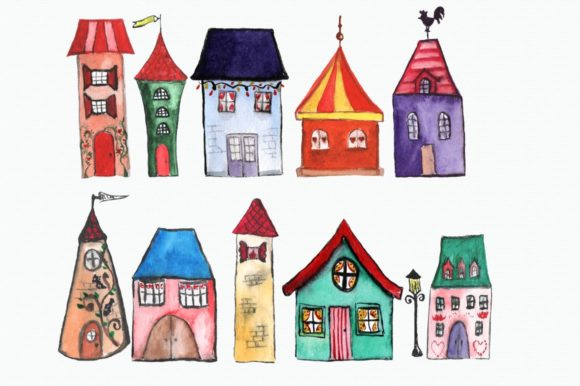 11 Watercolor Houses Clip Art Graphic Illustrations By tatibordiu