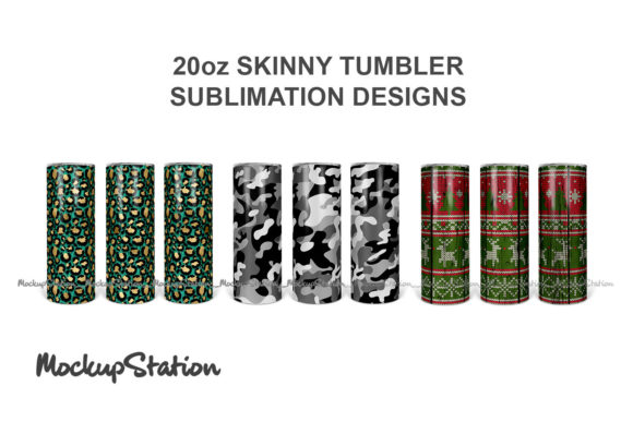 Print on Demand: 30oz Skinny Tumbler Sublimation Bundle Graphic Crafts By Mockup Station