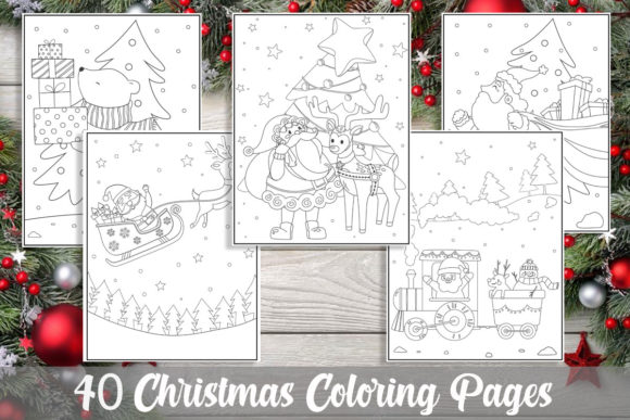 40 Christmas Coloring Pages for Kids Grafik Ausmalseiten & Malbücher für Kinder von KING ROX