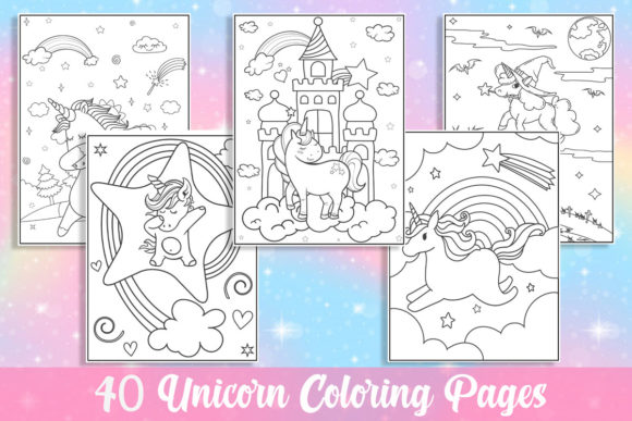 40 Unicorn Coloring Pages for Kids Graphic Coloring Pages & Books Kids By KING ROX