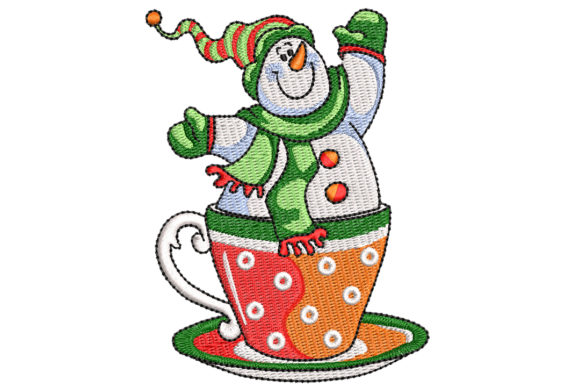 A Cup of Snowman Christmas Stickdesign von BabyNucci Embroidery Designs
