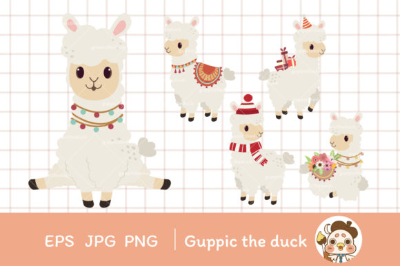 Alpaca Set with EPS JPG PNG File Clipart Graphic Illustrations By Guppic the duck