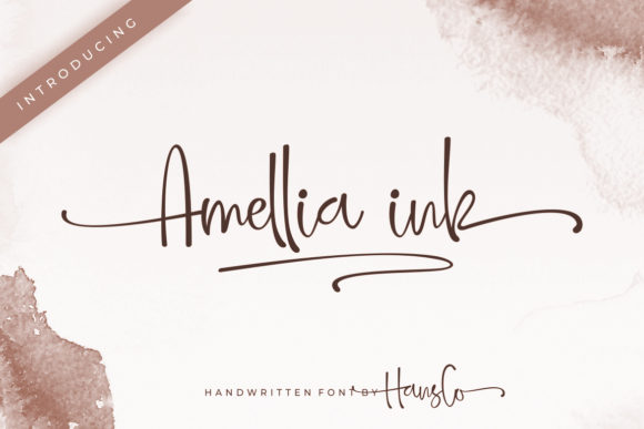 Print on Demand: Amellia Ink Script & Handwritten Font By HansCo