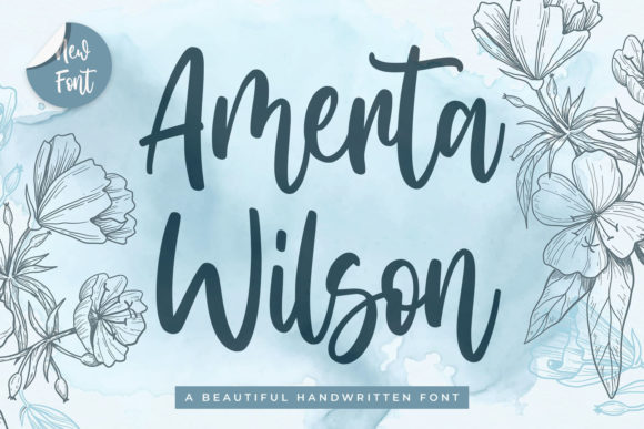 Print on Demand: Amerta Wilson Script & Handwritten Font By creakokunstudio