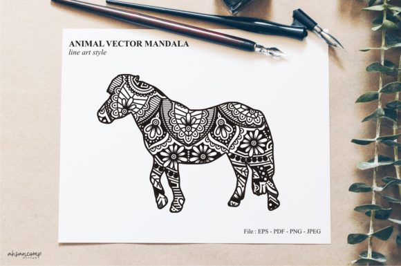 Print on Demand: Animal Vector Mandala Line Art Style 31 Graphic Crafts By Ahsancomp Studio