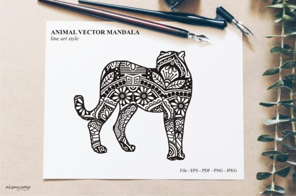 Print on Demand: Animal Vector Mandala Line Art Style 33 Graphic Crafts By Ahsancomp Studio
