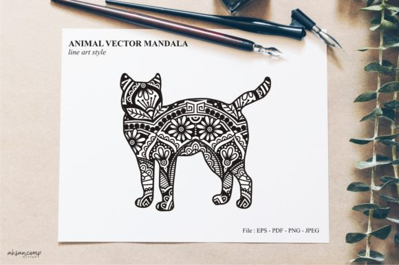 Print on Demand: Animal Vector Mandala Line Art Style 34 Graphic Crafts By Ahsancomp Studio