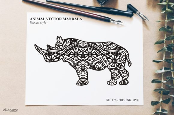 Print on Demand: Animal Vector Mandala Line Art Style 38 Graphic Crafts By Ahsancomp Studio