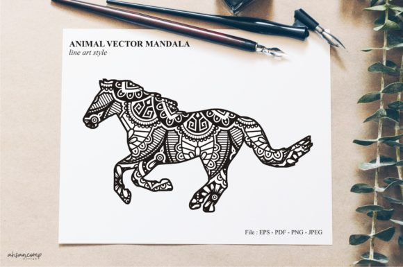 Print on Demand: Animal Vector Mandala Line Art Style 45 Graphic Crafts By Ahsancomp Studio