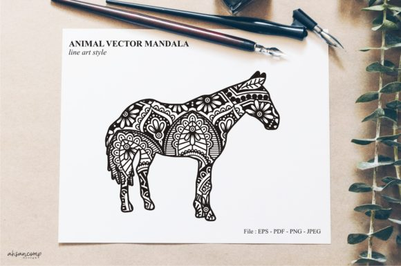 Print on Demand: Animal Vector Mandala Line Art Style 46 Graphic Crafts By Ahsancomp Studio