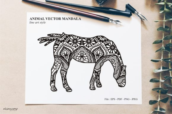 Print on Demand: Animal Vector Mandala Line Art Style 47 Graphic Crafts By Ahsancomp Studio