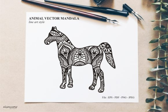 Print on Demand: Animal Vector Mandala Line Art Style 48 Graphic Crafts By Ahsancomp Studio