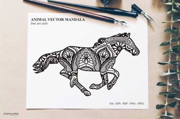 Print on Demand: Animal Vector Mandala Line Art Style 49 Graphic Crafts By Ahsancomp Studio