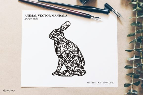 Print on Demand: Animal Vector Mandala Line Art Style 74 Graphic Crafts By Ahsancomp Studio